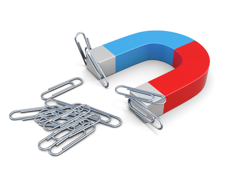Magnet with magnetized clips isolated on white bcakground. 3d rendering.