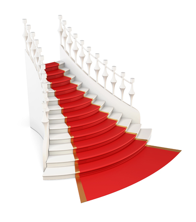 red carpet background: Red carpet on stairs isolated on white background. 3d illustration.