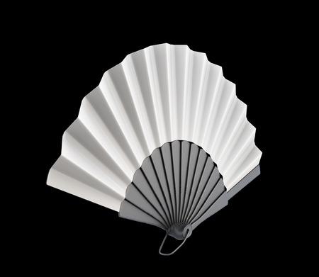 black fan: Open hand fan on a black background. 3d render image.