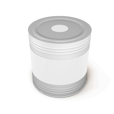paint container: Container with paint and a white label isolated on white background. 3d illustration.