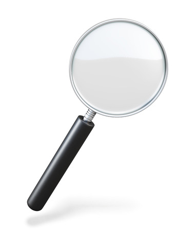 low scale: Magnifying glass on a white background. loupe. 3d illustration. Stock Photo