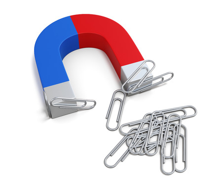 Magnet with paper clips isolated on white background. 3d rendering. Standard-Bild