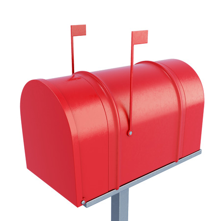 metal mailbox: Closed postage mailbox isolated on white background. 3d rendering.