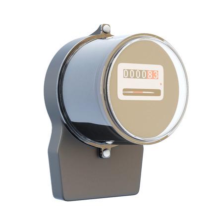 electric meter: medidor de electricidad retro aislado en el fondo blanco. Las 3D.