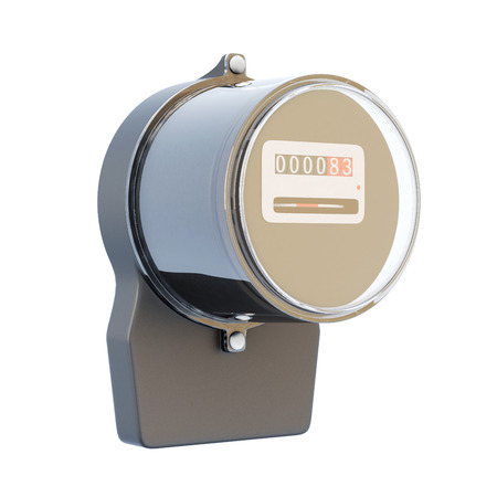 technologic: Retro electric meter isolated on white background. 3d rendering.