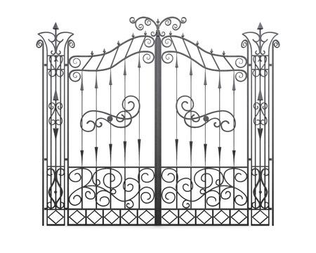 puertas de hierro: Puerta de hierro forjado aislado sobre fondo blanco. Valla vista frontal. Ilustraci�n 3D.