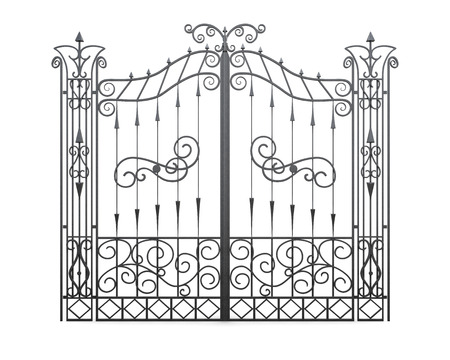 white door: Wrought iron gate isolated on white background. Fence front view. 3d illustration. Stock Photo