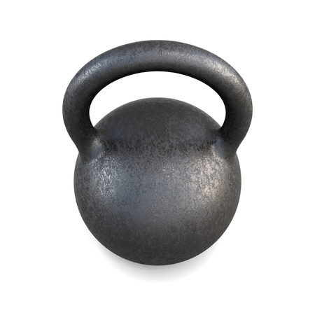 kilos: The pood kettlebell closeup on a white background. 3d rendering.