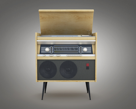 retro radio: Retro radio isolated on a gray background. 3d rendering.