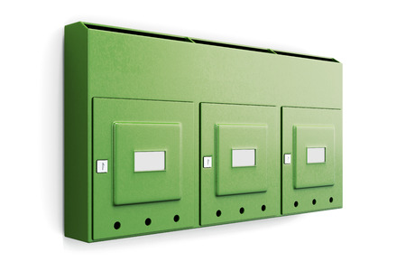 usps: Green mailbox in an apartment building isolated on white background. 3d illustration.
