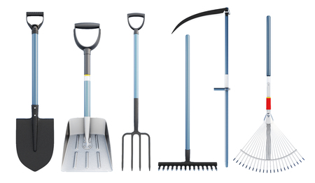 Set of tools for agriculture. 3d rendering