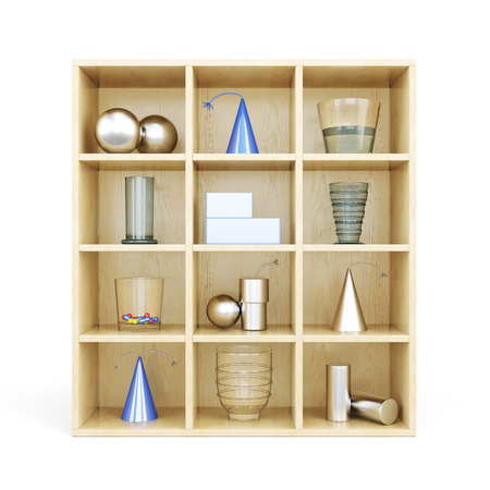 glass partition: Front view of wooden shelves from standing on it primitives. 3d illustration.