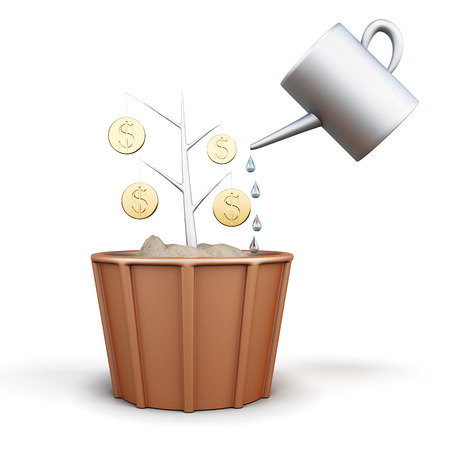 watered: Conceptual image of a tree with coins is watered from a watering can. 3d illustration.