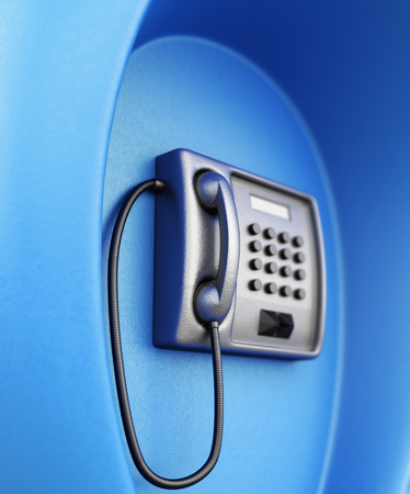 payphone: Street telephone closeup in blue box. 3d rendering.