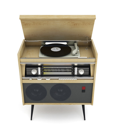 stereo cut: Vintage turntable with radio isolated on white background. 3d illustration.