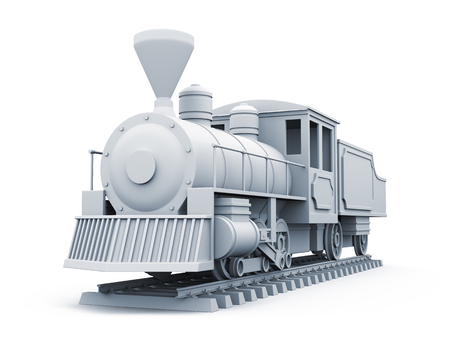 3D model of old steam locomotive isolated on white background.