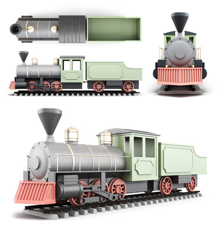 black train: Old locomotive with the car at different angles on a white background. 3d rendering.