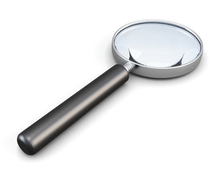low scale: Magnifier with handle isolated on white background. 3d render image.