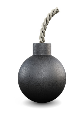 munition: Cartoon bomb isolated on white bcakground. 3d illustration.