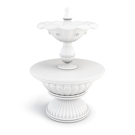 water feature: Two-tiered fountain on a white background. 3D render image.
