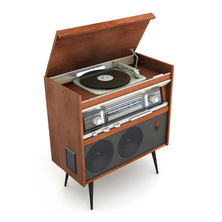 legs open: Old-fashioned turntable on legs with open lid. 3d rendering.