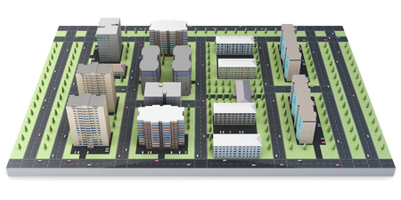 people street: 3d model of a city block isolated on white background.