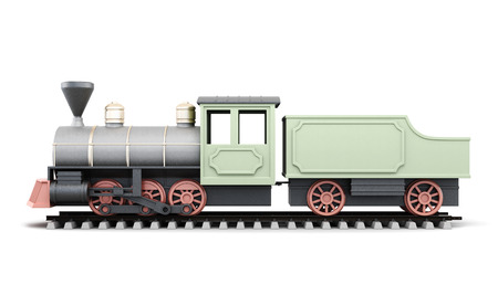 light duty: Profile antique locomotive with wagon isolated on white background. 3d rendering.