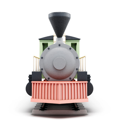 the locomotive isolated: Front of the old locomotive isolated on a white background. 3d rendering.