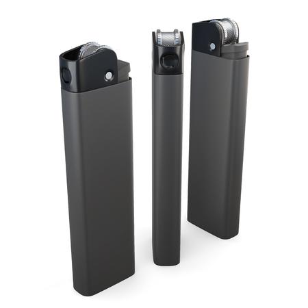 encendedores: Establecer encendedores verticales aislados en el fondo blanco. Las 3D.