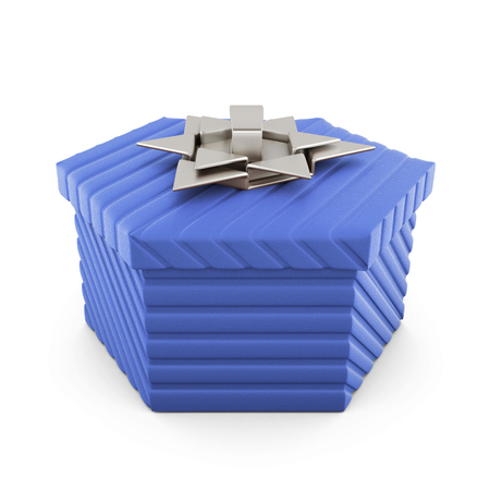 blue gift box: Blue gift box with silver bow on a white background. 3d rendering.
