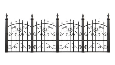 smithery: Wrought iron fence isolated on white background. 3d rendering. Stock Photo