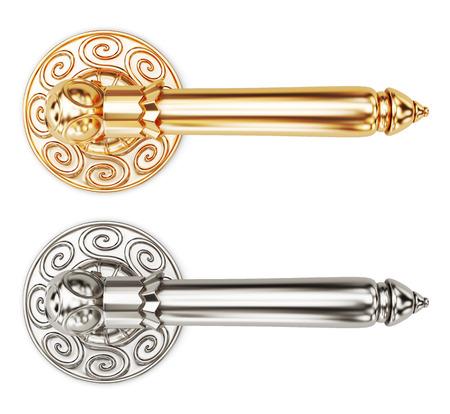 door knobs: Decorative door knobs on white background. 3d render image.