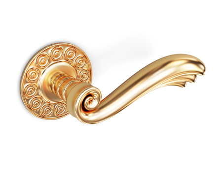 door handle: Door handle with an ornament on a white background. 3d rendering.