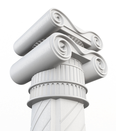 antiquities: Top of the column isolated on white background. 3d rendering.