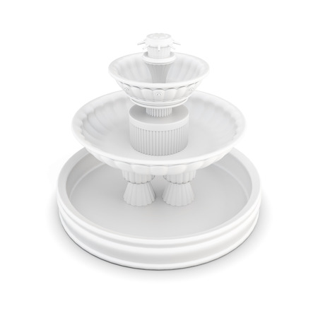 features: Three-tiered fountain on a white background. 3d rendering