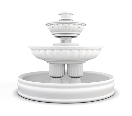 yard: Yard fountain isolated on white background. 3d rendering.