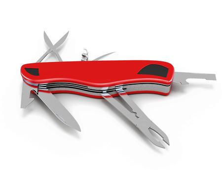 pocket knife: Pocket knife isolated on white background. 3d illustration.