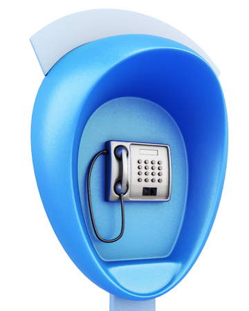 take charge: Blue public pay phone on a white background. 3d rendering. Stock Photo