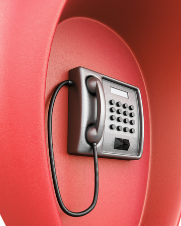 payphone: Public red phone macro. 3d render image. Stock Photo