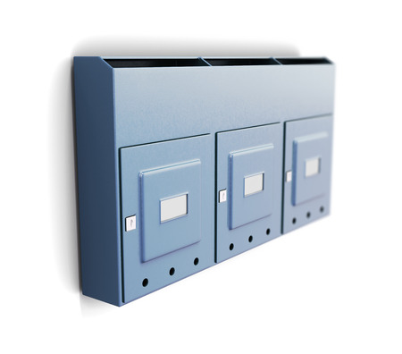 metalline: Several iron mailboxes on a white background. 3d rendering.