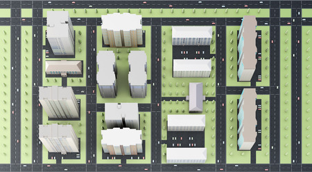 commercial building: 3d model of the area of the city top view.