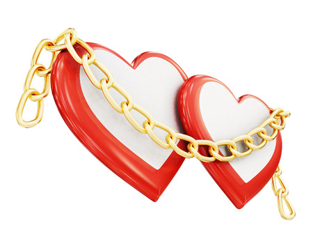 jealousy: Two hearts and chain isolated on white background. 3d rendering.