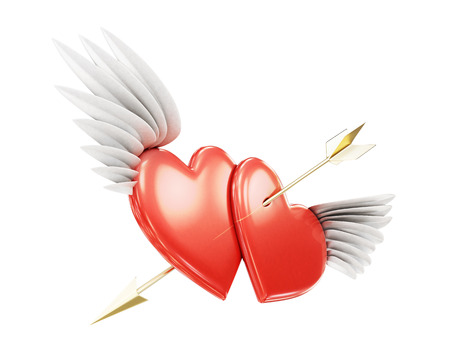affair: Two winged heart pierced by an arrow on a white background. 3d rendering