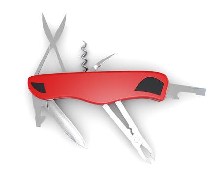 pocket knife: Multifunction pocket knife on white background. 3d rendering.