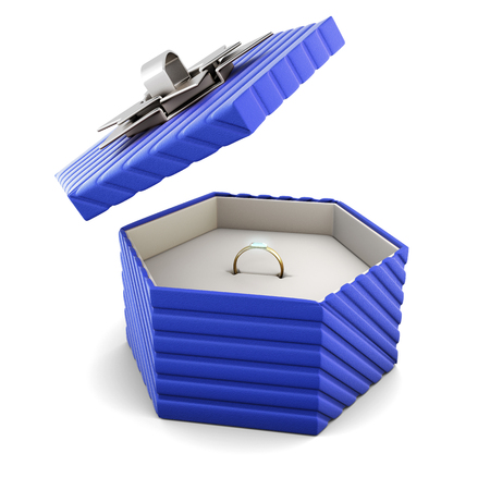 blue gift box: Ring in a blue gift box on a white background. Stock Photo