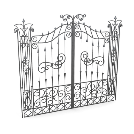 victorian gates: Wrought iron gate isolated on a white background. 3d rendering.