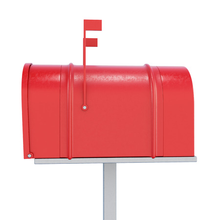 three dimensional accessibility: Red mailbox in profile on a white background. 3d rendering.