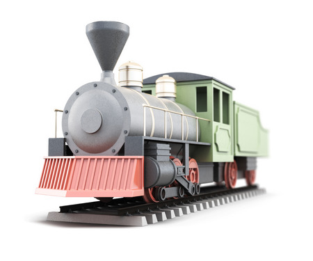 Old train isolated on white background. 3d render image.