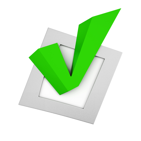 green tick: Green tick in the small box on white background. 3d rendering.
