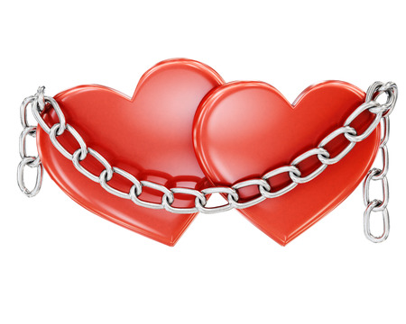 unbreakable: Two hearts bound by a chain on a white background. 3d rendering.